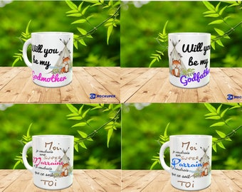 MUG MARRAINE PARRAIN fox in duet in French and English