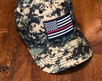 Thin Red Line American Flag/Digital Camo Low Profile Tactical Cap Dad Hat