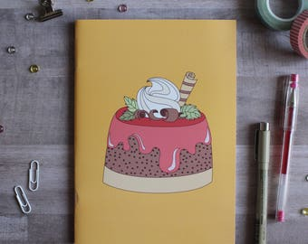 NOTEBOOK. A5 Cute Cake Notebook. Soft 300 gsm Card Cover. 40 lined pages. Matte lamination pleasant to the touch.