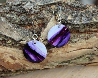 Purple Hand Painted Earrings