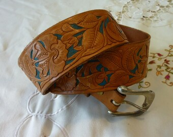 "Vintage Tooled Leather Belt - Belt with Metal  Buckle - Tooled Hibiscus Flower with Teal Inserts  -  Size 43""- Top Grain Cow Hide"