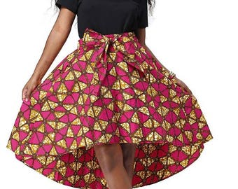 Dashiki African Ankara wax Print knee length flare Skirt with bow XS, S, M, L, XL, XXL, xXL (many colors)