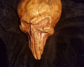 Unique, hand carved maple burl. skull/heart, wall hanging or decoration