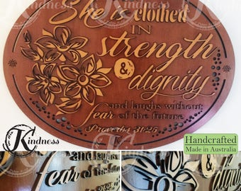 Wooden Wall Art, She is clothed in strength and dignity, Proverbs 31:25, Inspirational Quote, inspirational gift, home sign decor