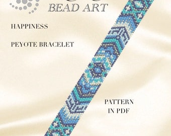 Pattern, peyote bracelet - Happiness peyote bracelet pattern in PDF - two color versions - instant download