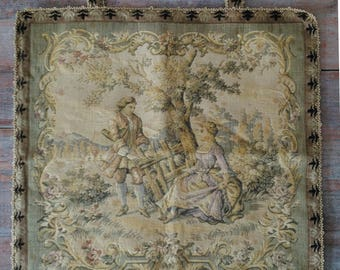 French tapestry vintage panel country vignette brocante boudoir château chic soft colours edged with hanging loops