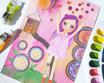 Unalome girl painting - Mixed media girl - Original artwork - Whimsical art - Positive art - wall art - Unalome - Mixed media art