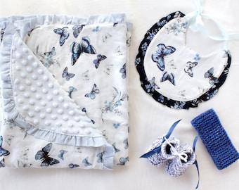 Baby blanket / Butterfly Blanket / Blue Newborn Blanket / Baby Girl / Newborn Girl / Minky Blanket / Sky Blue Newborn Gift