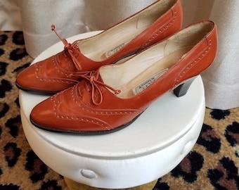 Clean, Vintage, 1980's, Amalfi by Rangoni, Rust, Women's, Oxford, Spectator, Heels, Shoes