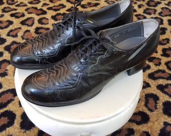 Clean, Vintage, 1930's, 1940's, Women's, Black, Leather, Oxford, Spectator, Brogue, Chunky, Granny, Lace Up, Heels, Shoes, 9 1/2 A