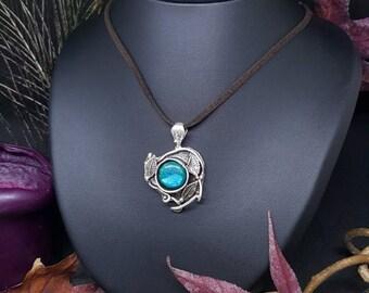 Turquoise necklace Moonstone & Leafs - silver - Moonstone pendant turquoise - gemstones - Elvish - leaves - tree - Bohemian