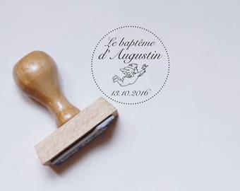 Baptism Angel - custom stamp, rubber stamp wooden stamp