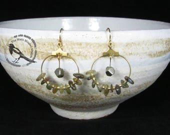 Hoop Earrings // Pyrite & Labradorite // Gold