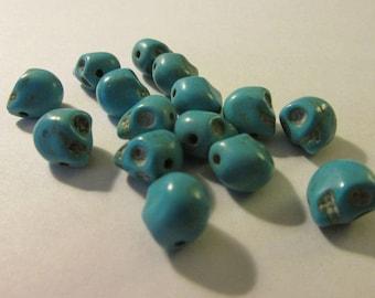 """Turquoise Blue Howlite Mini Skull Beads, 3/8"""", Set of 5"""