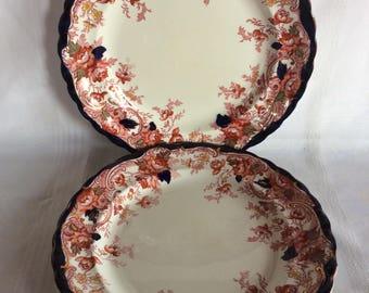 Antique 1906 Wedgwood & Co England Burlington Royal semi porcelain dinner plate Burlington pattern