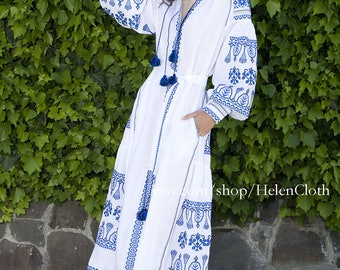 Women dress White linen embroidered vyshyvanka. Ukrainian vyshyvanka dress, mexican dress, Kaftan, Abaya, Caftan. Free Shipping Boho style