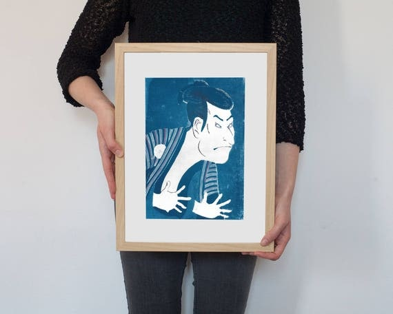 Japanese Ghost on Cyanotype with Hand Painted Touches of Watercolor