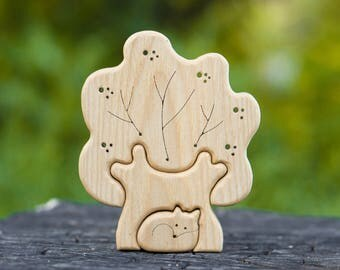 Tree and fox Puzzle. Wooden Puzzle. Waldorf Toy. Montessori Toy for Baby and Toddler. Educational Toy. Handmade Eco-Friendly Toy.