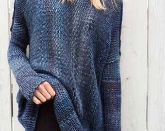 Alpaca Blue sweater. Oversized womens tunic. Chunky knit sweater. Thumb holes sweater.