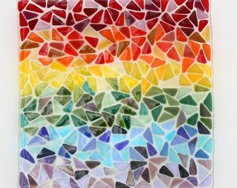 Large square rainbow fused glass dish, a rainbow mosaic glass bowl