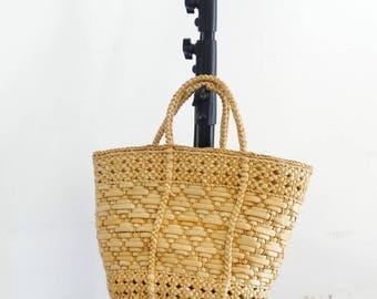 Straw basket bag large straw tote wicker market bag wicker tote sisal carryall tote woven straw bag vintage