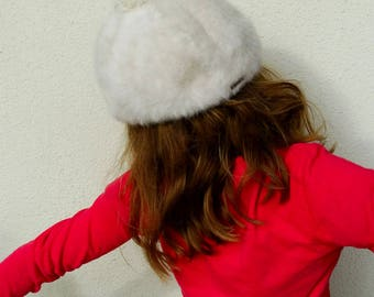 White angora Kangol beret with pompom bohemian women beret hat furry wool woollen hat vintage