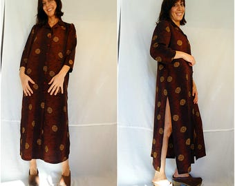 Kaftan summer dress loose tunic dress oversize dres top maxi caftan plus size summer kaftan dress burgundy brown vintage size Large