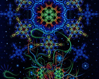 "Psy Вackdrop ""Space of Power"" UV blacklight active fluorescent psychedelic tapestry wall hanging decoration goa party visual art"