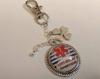 Keychain cabochon, diabetic medical alert