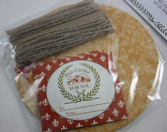 Mason Jar Label Kit 37 Piece Tuscan Kitchen Lid Covers Gift Tags Sticker Labels Twine Jute  Fleur de Lis Rooster Tags Mia Cucina My Kitchen