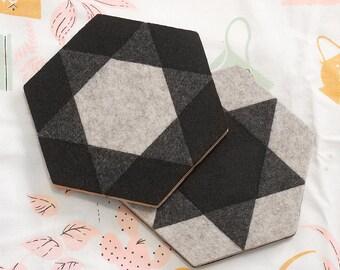 MOD ILLUSION 2x Felt/Cork Trivets – REVERSIBLE Geometric Tile Pattern, Tabletop Teapot Hot Pad, Small Kitchen Gift, Modern Minimalist Design