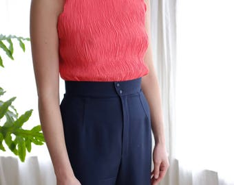Coral Pleated Sleeveless Top