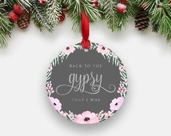 GYPSY Stevie Nicks Holiday Ornament - Round Aluminum Circle Christmas Tree Ornament, Floral Wreath Fleetwood Mac Boho Gifts Stocking Stuffer