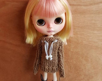 "Clothing: dress Brown ""pearl"" for dolhouse 1/6 (blythe, jecci five, icy doll pullip, BJD...)"