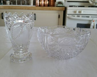 vintage clear cut glass lead crystal footed vase w/ satin frosted pear & leaves and oval bowl w/ roses candy dish - planter centerpiece art