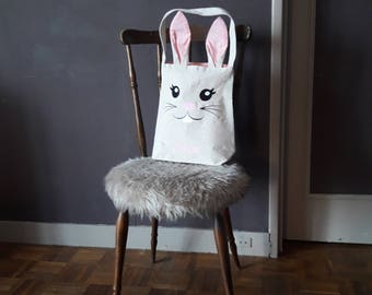 Personalized mini Tote Bag/purse Bunny Easter Special - with the name of the child's ears