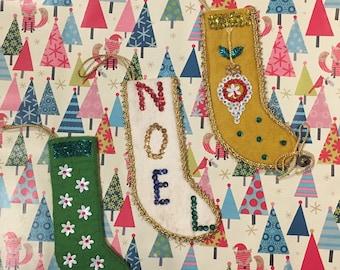 Vintage Handmade Felt Stocking Ornament  - Set of 3