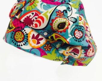Teal Paisley Bouffant Scrub Hat, Scrub Cap, OR Hat, Surgical Scrub Hat, Surgical Scrub Cap, Scrub Hats for Women, ORHatsByBonita