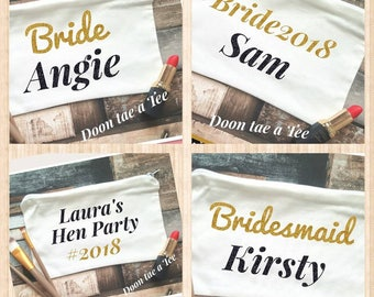 Personalised Make up bag, Wedding Favours, makeup, SALE OFFER, Bridesmaid gift, Bride 2018 , cosmetic bag,  Under a fiver! Bridal Party Bags