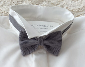 Knitted bow tie, Silk / Wool, grey