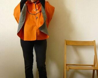 Orange waterproof waterproof canvas large hooded Cape