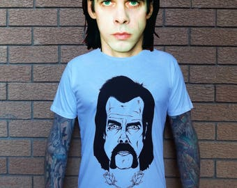Nick Cave Spunk Valley Tee. The Bad Seeds, Grinderman, The Birthday Party, Portrait Art, Legendary Australian Rock Music Band Shirt, Roses