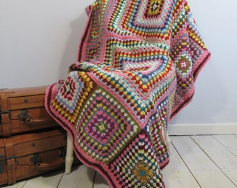Vintage Granny Blanket, Hygge, Crochet Blanket, Throw, Scandinavian, Scandi