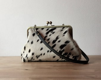 Dalmatian LOVE , Spotted Cowhide clutch, hair on hide bag , calf hair bag, leather clutch with strap, kiss lock frame purse, fur clutch