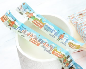 London Wide Washi Tape 20mm/ Great Britain Washi Tape/ London Red Buses Washi Tape/ Westminster Abbey London Eye Washi Tape