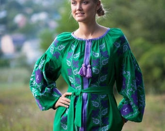 ON SALE in stock 1 piece, Midi green dress, embroidered Ukrainian vyshyvanka, Exclusive Women's Clothing