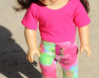 "18 Inch Doll Leggings, Crop Top to Fit Like American Girl Doll Clothes, 18"" Doll Clothes, 18"" Doll Leggings, 18"" Doll Crop Top,"