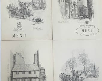 Lot 4 Boston menus 1938. Hotel Bellevue, Parker House, The Somerset. E.E. Anthony artist. Beacon hill, antique, vintage food foodie cooking