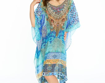 Digital print kaftan dress, moroccan kaftan caftan in Blue, plus size dress, beach kaftan embellished caftan dress short kaftan