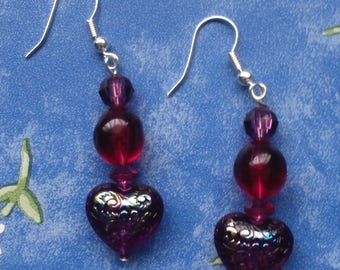 Pink Heart Earrings- dangle, drop, purple, pink